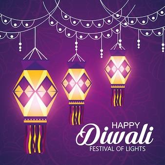 Feliz diwali festival de luzes com lanternas