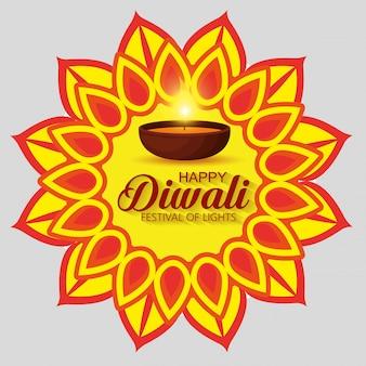 Feliz diwali festival de luzes com mandala