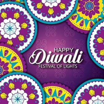 Feliz diwali festival de luzes com mandalas