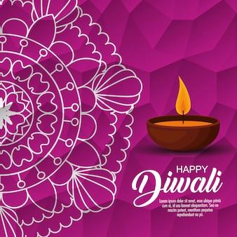 Feliz diwali festival de luzes com vela e mandala