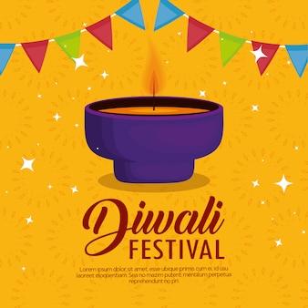 Feliz diwali festival de luzes com velas e guirlanda
