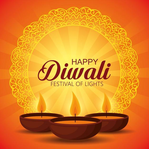 Feliz diwali festival de luzes com velas