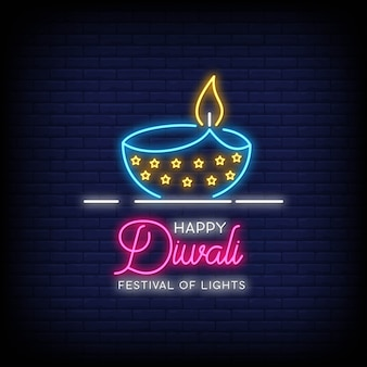 Feliz diwali festival de luzes sinais de néon estilo texto
