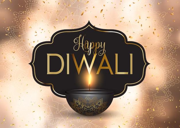 Feliz diwali fundo com confetes ouro