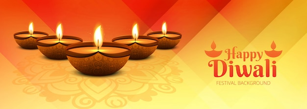 Feliz diwali hindu festival banner fundo decorativo