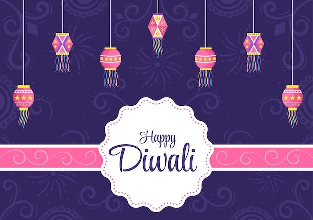 Feliz diwali hindu festival ilustração vetorial de fundo com lanternas, fogos de artifício de iluminação, pavão e mandala ou arte de rangoli para cartaz, modelo de cartão de felicitações