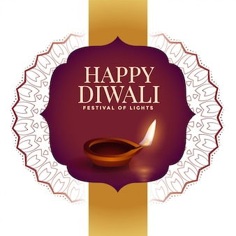 Feliz diwali ilustração criativa com decoração de estilo indiano