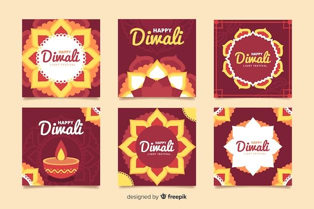 Feliz diwali instagram post coleção