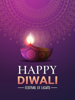 Feliz diwali luzes indianas tradicionais hindu festival celebração férias banner