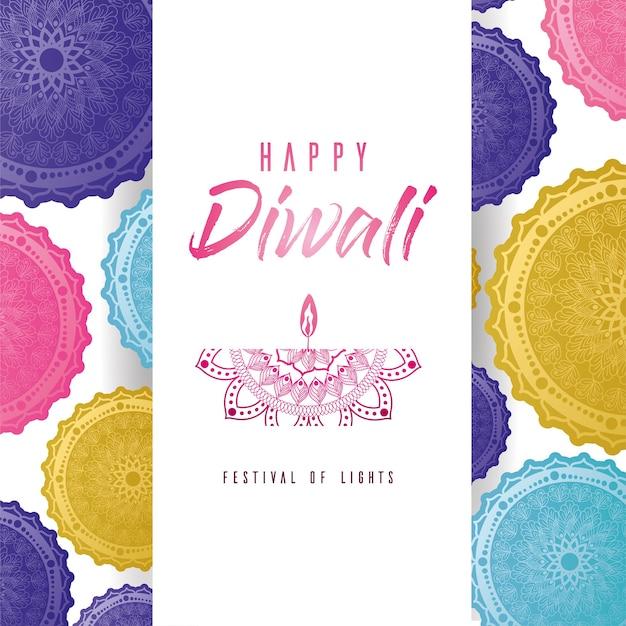 Feliz diwali mandalas multicoloridas com design de rótulo de vela, tema festival das luzes.