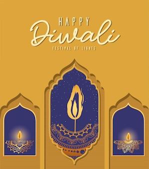 Feliz diwali mandalas velas em windows design, festival of lights theme.