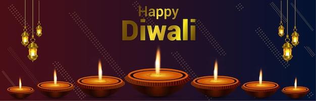 Feliz diwali, o festival de luzes de fundo e banner