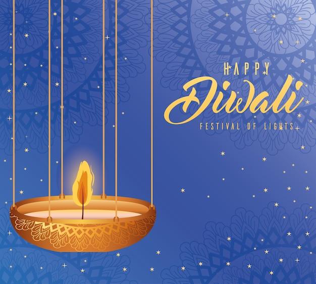 Feliz diwali pendurado vela no design de fundo azul, tema do festival de luzes.