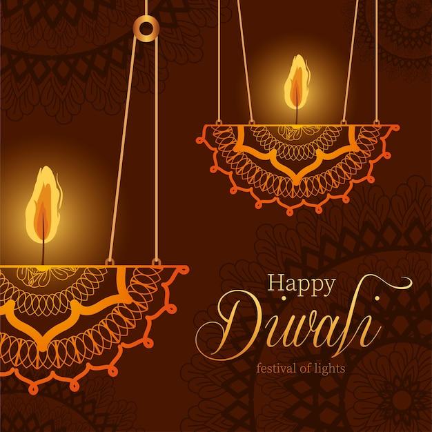 Feliz diwali pendurando velas de mandalas no design de fundo marrom, tema do festival de luzes.