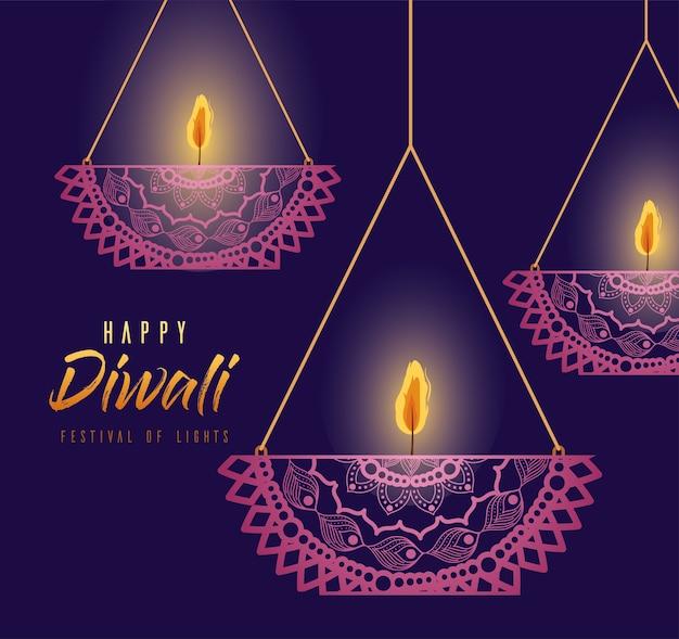 Feliz diwali pendurando velas de mandalas no design de fundo roxo, tema do festival de luzes.