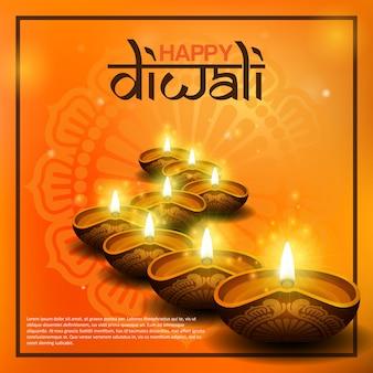 Feliz, diwali, saudação, com, diya, vela
