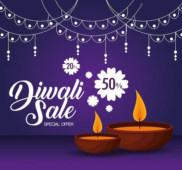 Feliz diwali venda com velas