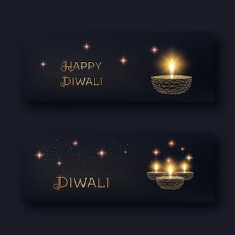 Feliz diwali web banners com diya de lâmpada de óleo dourado baixo poli brilhante e texto em preto.