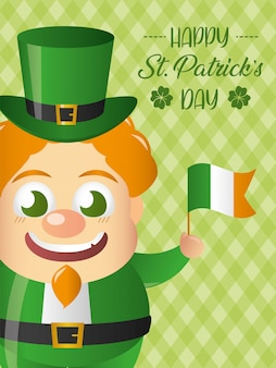 Feliz duende irlandês com uma bandeira da irlanda cartão