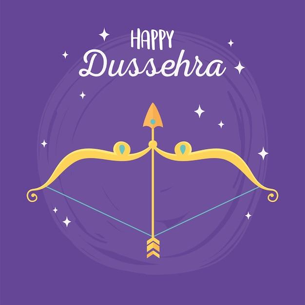 Feliz dussehra festival da índia, ilustração de fundo roxo com arco de flecha dourado