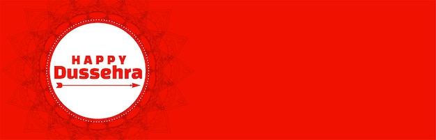 Feliz dussehra festival largo banner vermelho com seta