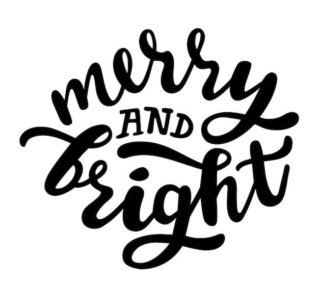 Feliz e brilhante inverno e natal citações letras à mão