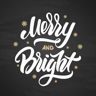 Feliz e brilhante natal elegante escova moderna letras com flocos de neve dourados sobre fundo negro.