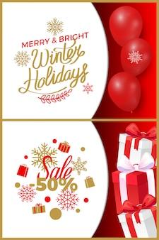 Feliz e brilhante venda de férias de inverno no natal