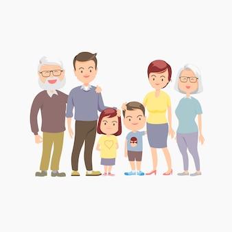 Feliz e grande família. personagens.