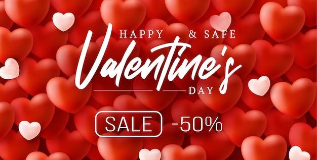 Feliz e seguro dia dos namorados com coração de balões