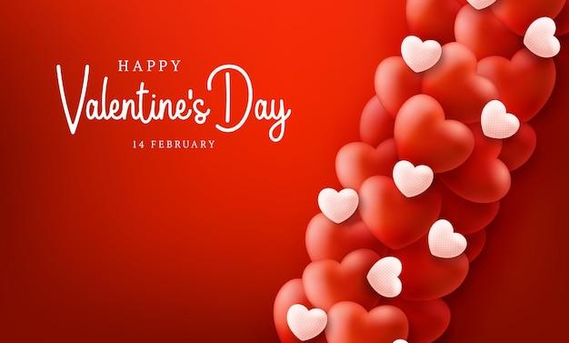 Feliz e seguro fundo de venda de dia dos namorados com coração de balões.