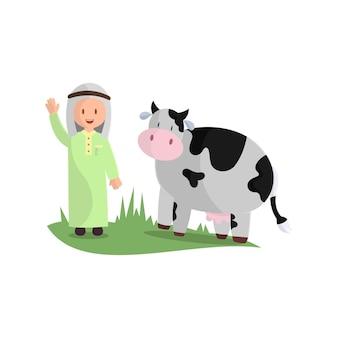 Feliz eid adha. celebração do feriado muçulmano: o sacrifício de uma vaca