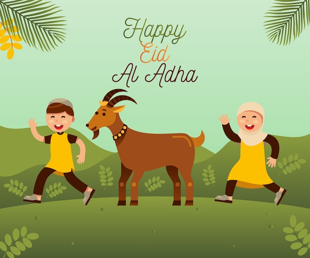 Feliz eid al adha com crianças muçulmanas e cabra para qurban