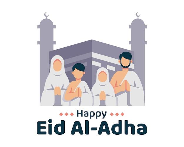 Feliz eid al adha fundo com família muçulmana e ilustração de kaaba