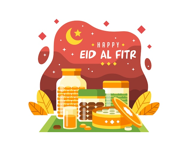 Feliz eid al fitr fundo com ilustração de alimentos