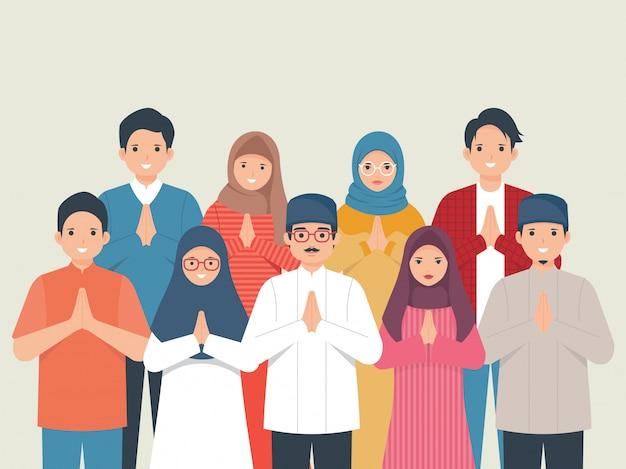 Feliz eid mubarak família saudação ilustração