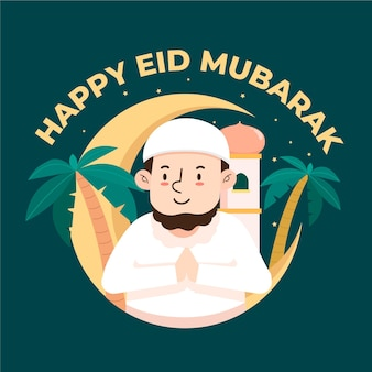 Feliz eid mubarak personagem muçulmana avatar rezando