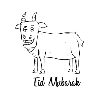 Feliz eid mubarak um festival sagrado muçulmano com estilo doodle