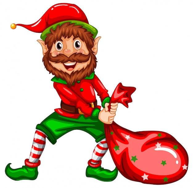 Feliz elf levar saco