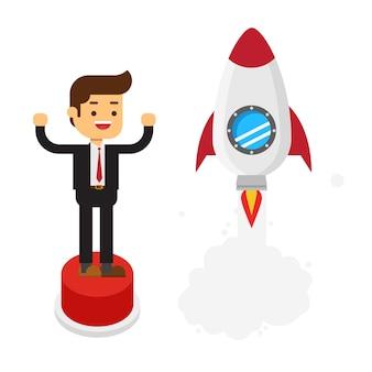 Feliz empresário clica em um grande botão de arranque