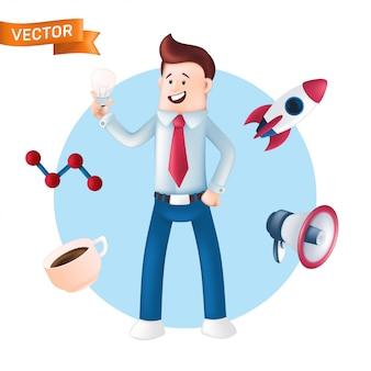 Feliz empresário com ícones ao seu redor - foguete, copo, megafone. ilustração de gerente de escritório sorridente, vestido com uma camisa azul com gravata, mostrando ou segurando uma lâmpada isolada no branco