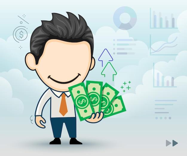 Feliz empresário com notas de dinheiro na mão o conceito de riqueza no estilo cartoon