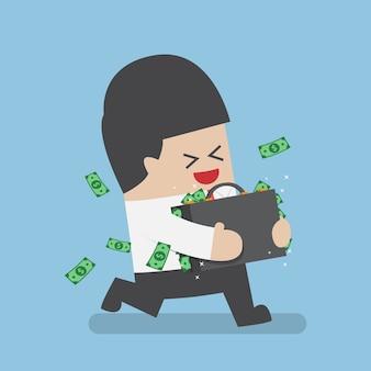 Feliz empresário correndo com uma mala cheia de dinheiro, sucesso nos negócios e conceito de riqueza