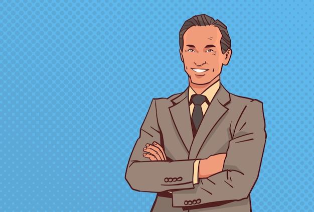 Feliz empresário dobrado as mãos posar homem de negócios sorrir masculino personagem de desenho animado