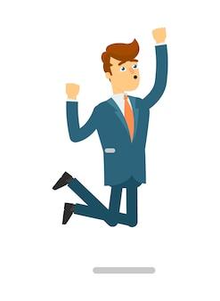 Feliz empresário em terno pulando personagem