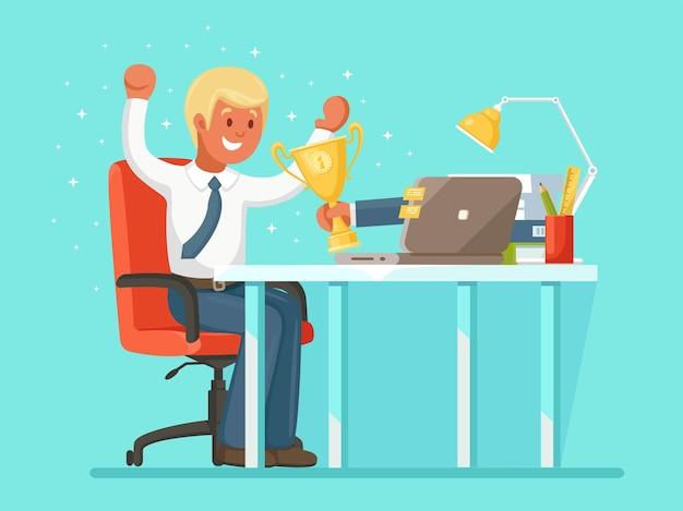Feliz empresário ganhou um prêmio de ouro, troféu no concurso online de ilustração
