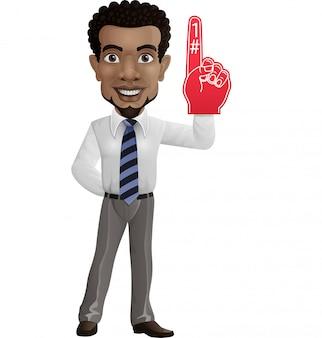 Feliz empresário mostrando o número um com o dedo de espuma
