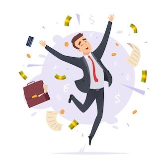 Feliz empresário. saltar proffesional bem sucedido jovem escritório gerente masculino dos desenhos animados