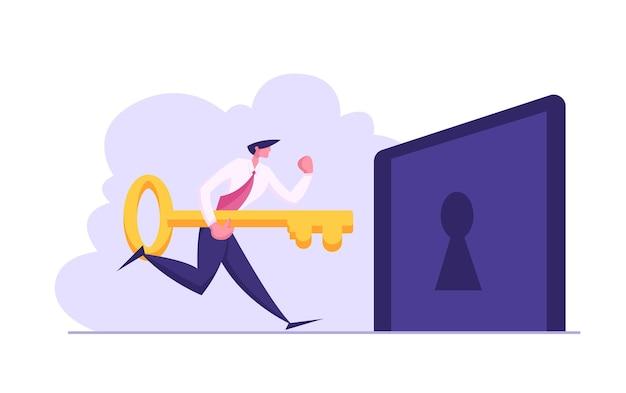 Feliz empresário segurando uma grande chave e tentando destravar ilustração do buraco da fechadura