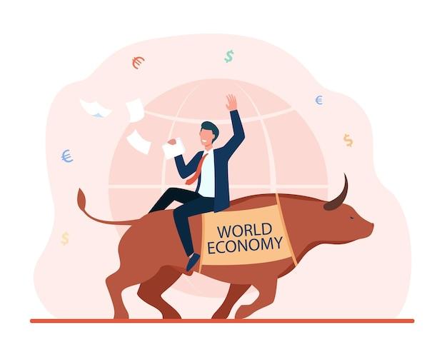 Feliz empresário sentado no touro